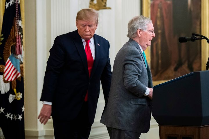 President Donald Trump invites Senate Majority Leader Mitch McConnell, R-Ky., to speak in the East Room of the White House du