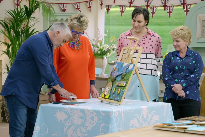 """Paul Hollywood, Prue Leith, Noel Fielding and Sandi Toksvig in """"The Great British Baking Show."""""""