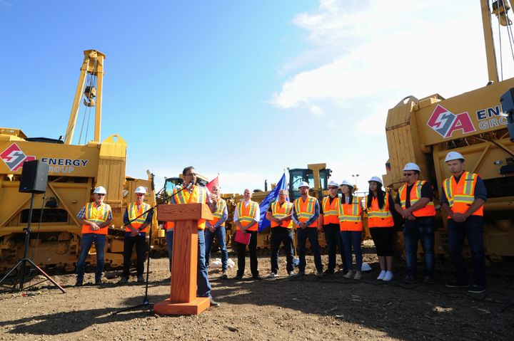 Minister of Natural Resources Amarjeet Sohi discusses expanding the Trans Mountain oil pipeline in Alberta on Aug. 21, 2019.