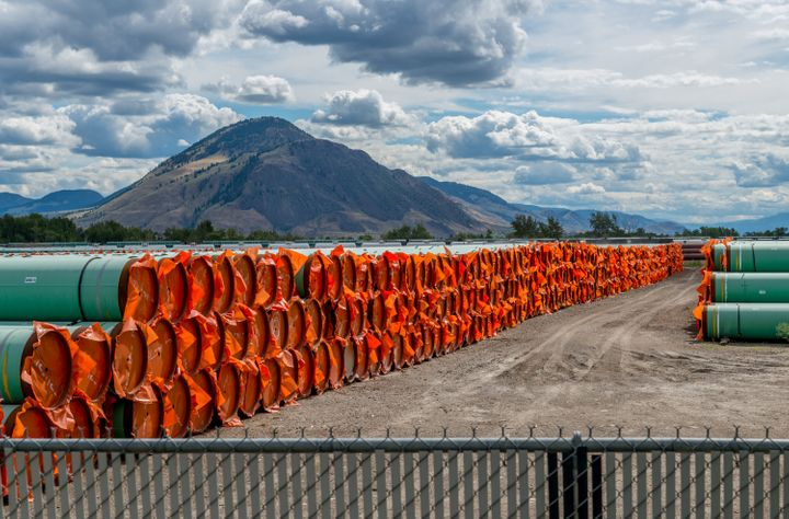 Steel pipe to be used in the oil pipeline construction of the Trans Mountain Expansion Project in B.C. on June 18, 2019.