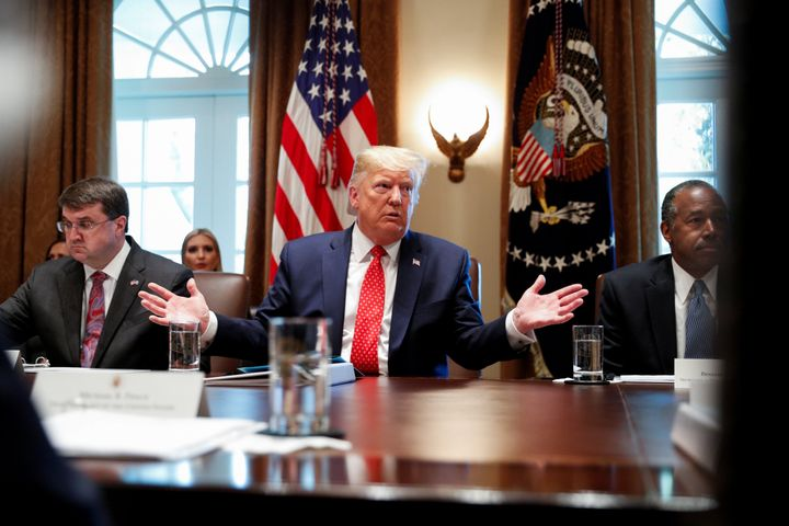 President Donald Trump hosts a Cabinet meeting at the White House on Tuesday.