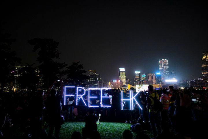 A Free HK sign during a Nov. 11 memorial rally at Tamar Park in Hong Kong to mourn the death of a 22-year-old university stud