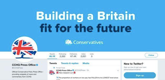 Le compte Twitter du service de presse du Parti conservateur avant le débat de ce mardi 19