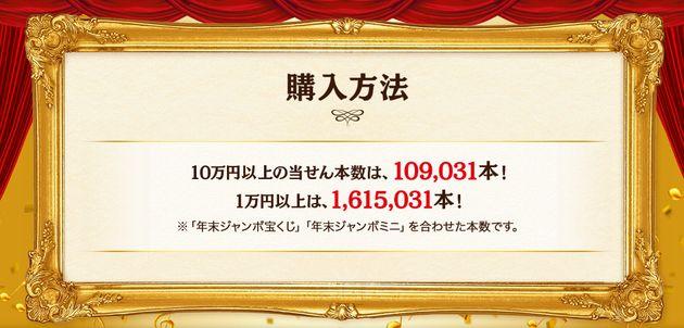 2019年の当せん本数は、「年末ジャンボ宝くじ」と「年末ジャンボミニ」合わせて、10万円以上が10万9千31本、1万円以上が161万5千31本となっている。