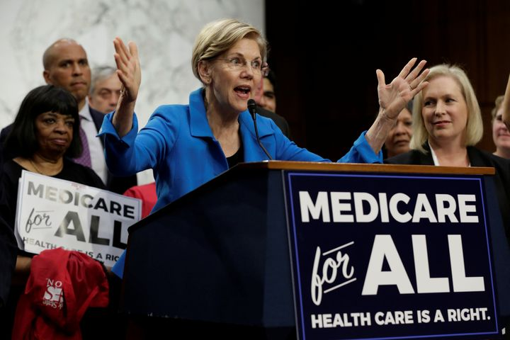 Sen. Elizabeth Warren (D-Mass.) speaks at an event to introduce the Medicare for All Act of 2017 on Capitol Hill on Sept. 13,