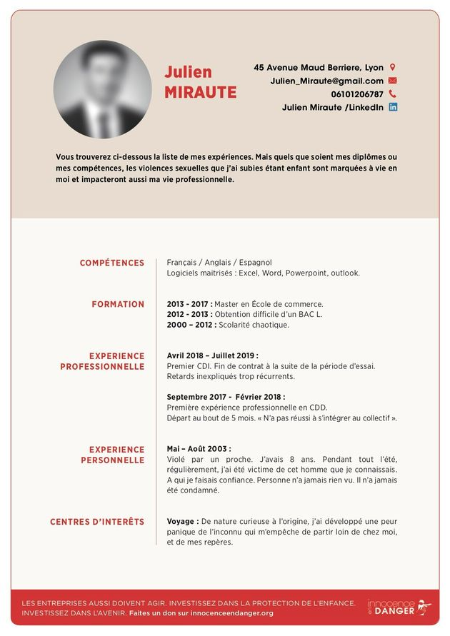 Le CV de Julien Miraute à l'occasion de la Journée internationale des droits de