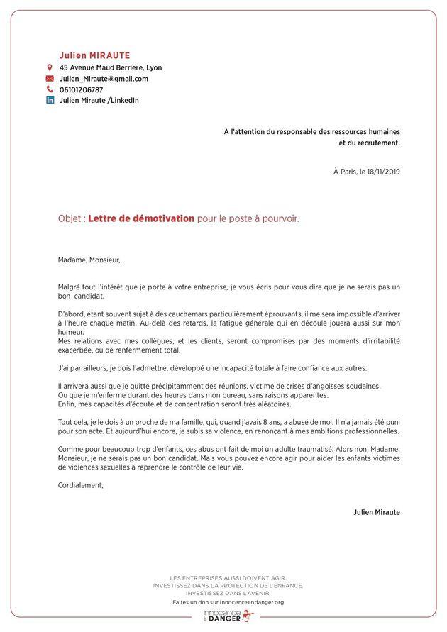 La lettre de démotivation à l'occasion de la journée internationale des droits de