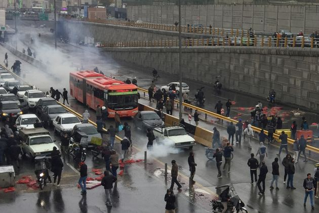 People protest against increased gas price, on a highway in Tehran, Iran November 16, 2019. Nazanin Tabatabaee/WANA...