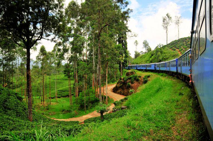 Viaje en tren por la zona de campos de té de Nuwara Eliya (Sri Lanka).