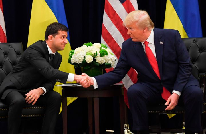 President Donald Trump shakes hands with Ukrainian President Volodymyr Zelensky during a meeting in New York on Sept. 25.