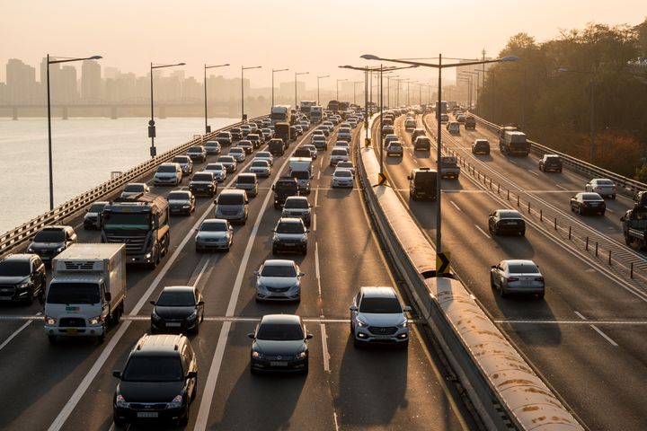 In this stock photo, heavy traffic is seen on an expressway in Seoul, South Korea.