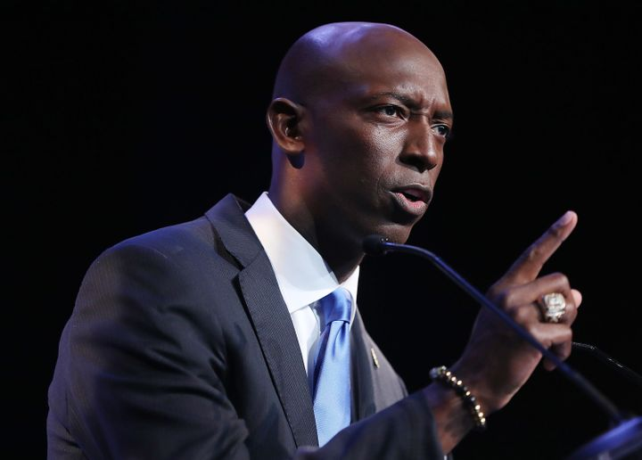 Mayor Wayne Messam speaks at a rally at Florida Memorial University in Miami Gardens.