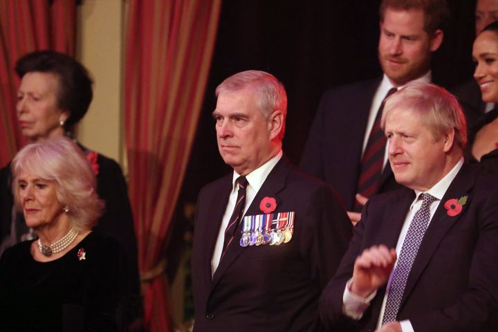 Princess Anne; Camilla, Duchess of Cornwall; Prince Andrew; the Duke and Duchess of Sussex; and Prime Minister Boris Johnson