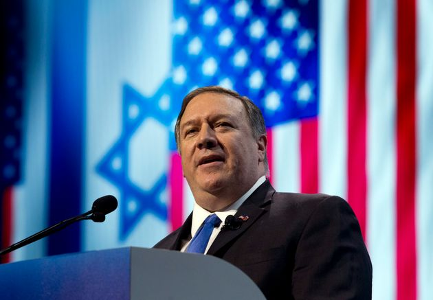 U.S. Secretary of State Mike Pompeo speaks at the 2019 American Israel Public Affairs Committee (AIPAC)...