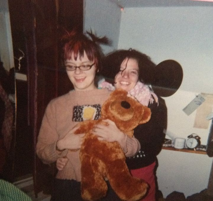 The author (left) and her friend Axi holding a bear supposedly infested with fleas, in late 2003