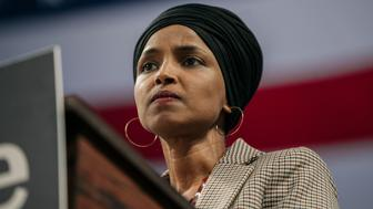 MINNEAPOLIS, MN - NOVEMBER 03: Representative Ilhan Omar (D-MN) speaks at a campaign rally for Senator (I-VT) and presidential candidate Bernie Sanders at the University of Minnesotas Williams Arena on November, 3, 2019 in Minneapolis, Minnesota. Before introducing him, Rep. Omar praised Sanders for his support of unions, comprehensive immigration reform, and support for refugees. (Photo by Scott Heins/Getty Images)