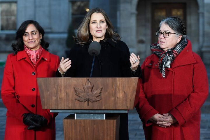 Newly named deputy prime minister Chrystia Freeland, centre, speaks alongside Minister of Public Services and Procurement Anita Anand, left, and Minister of National Revenue Diane Lebouthillier following the swearing-in of the new cabinet at Rideau Hall in Ottawa on Nov. 20, 2019.