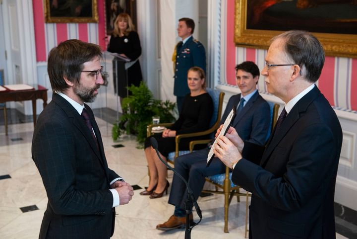Steven Guilbeault is sworn in as minister of Canadian heritage at Rideau Hall in Ottawa on Nov. 20, 2019.
