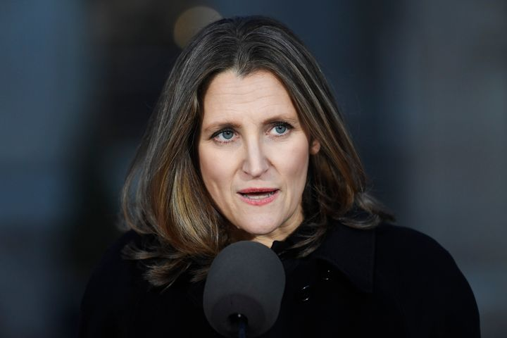 Newly named Deputy Prime Minister and Minister of Intergovernmental Affairs Chrystia Freeland speaks following the swearing-in of the new cabinet at Rideau Hall in Ottawa on Wednesday.