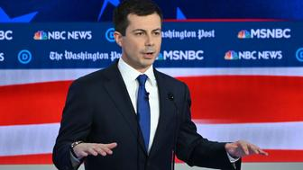 Democratic presidential hopeful Mayor of South Bend Pete Buttigieg speaks during the fifth Democratic primary debate of the 2020 presidential campaign season co-hosted by MSNBC and The Washington Post at Tyler Perry Studios in Atlanta, Georgia on November 20, 2019. (Photo by SAUL LOEB / AFP) (Photo by SAUL LOEB/AFP via Getty Images)