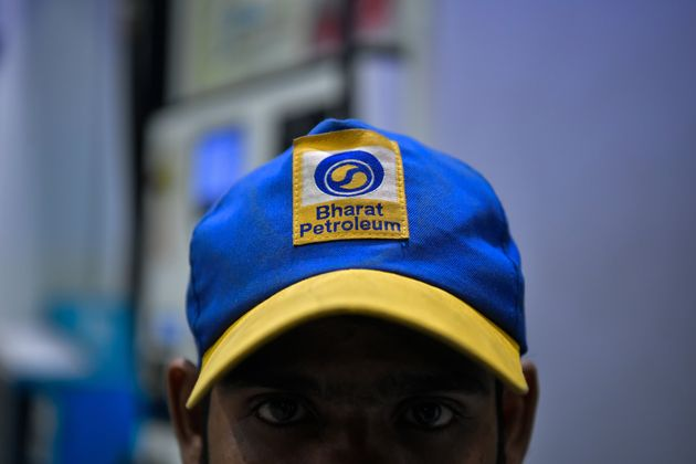 The trademark of Bharat Petroleum Corporation on the cap of an employee at a gas