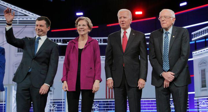 From left, the four polling leaders -- Pete Buttigieg, Elizabeth Warren, Joe Biden and Bernie Sanders -- did not get into the