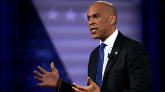 Democratic 2020 U.S. presidential candidate Senator Cory Booker (D-N.J.) gestures in a televised townhall on CNN dedicated to LGBTQ issues in Los Angeles, California, U.S. October 10, 2019. REUTERS/Mike Blake
