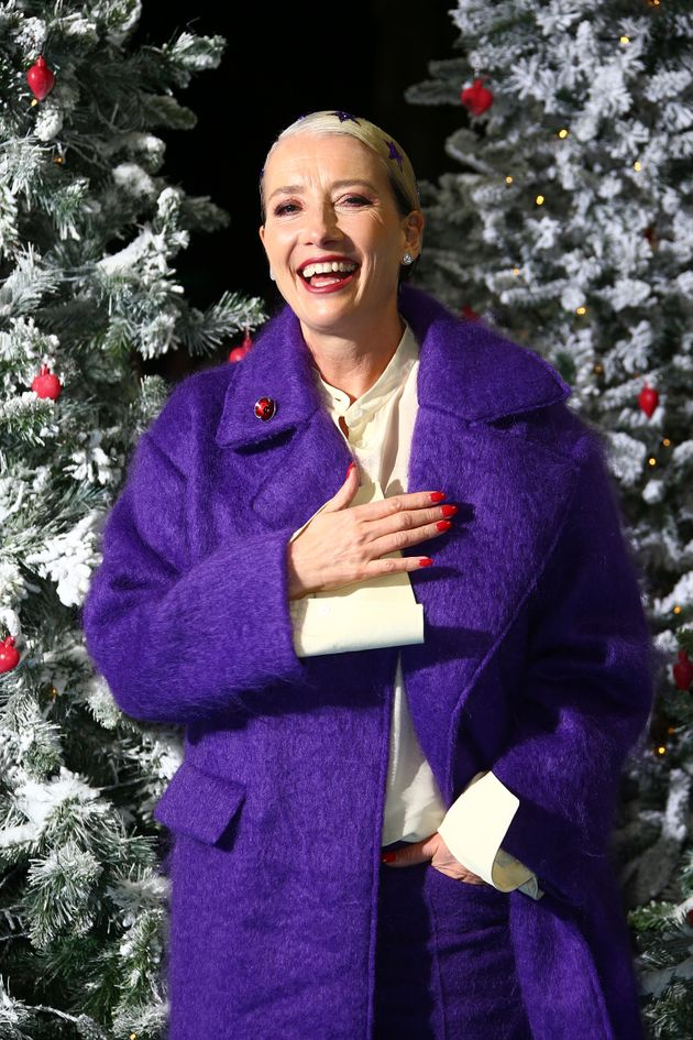 Actress and writer Emma Thompson poses for photographers upon arrival at the premiere of 'Last Christmas'...