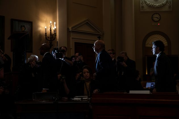 Gordon Sondland, the U.S. ambassador to the European Union departs the House Intelligence Committee impeachment...