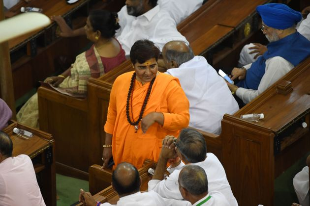 Pragya Singh Thakur attends a National Democratic Alliance (NDA) meeting at the parliament, in New Delhi...