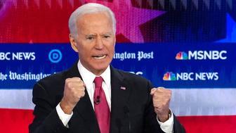 Former Vice President Joe Biden speaks during the U.S. Democratic presidential candidates debate at the Tyler Perry Studios in Atlanta, Georgia, U.S. November 20, 2019. REUTERS/Brendan McDermid