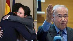 El antológico 'palo' de Alfonso Guerra a Sánchez tras ver en cámara lenta su abrazo con Iglesias: