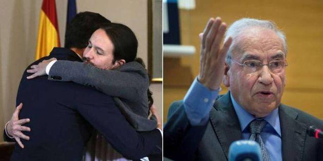 El abrazo de Sánchez e iglesias (i) y el exvicepresidente, Alfonso