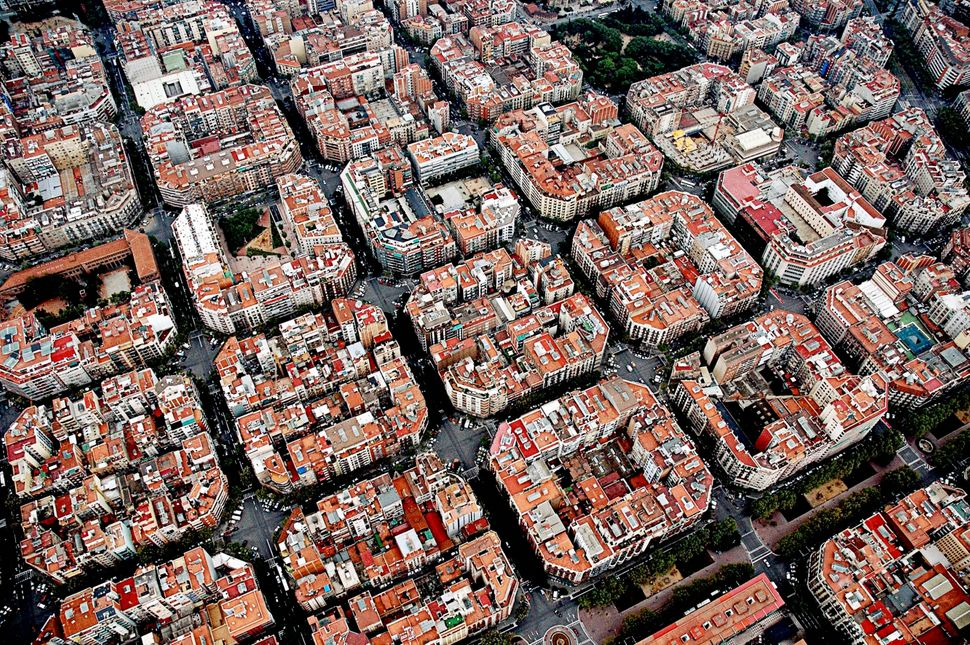 """Aerial view of Barcelona. The city has implemented six """"superblocks,"""" areas of the city that are virtually car-free."""