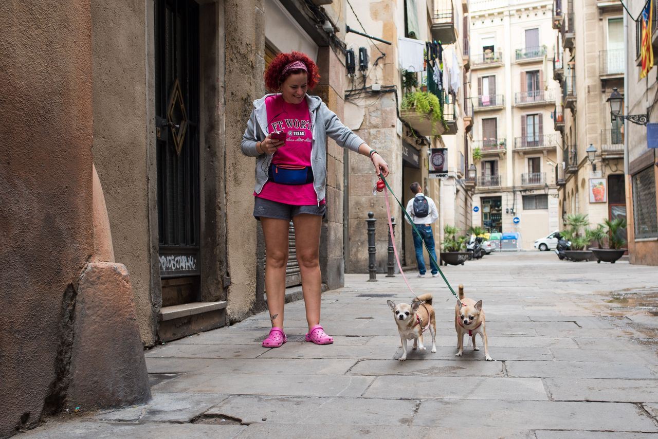 A woman walking her dogs in the El Born neighborhood of Barcelona, which was the first area to implement a superblock.
