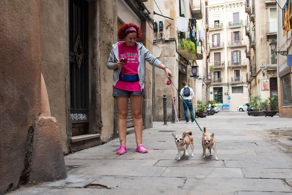 A woman walking her dogs in the El Born neighborhood of Barcelona, which was the first area to implement...