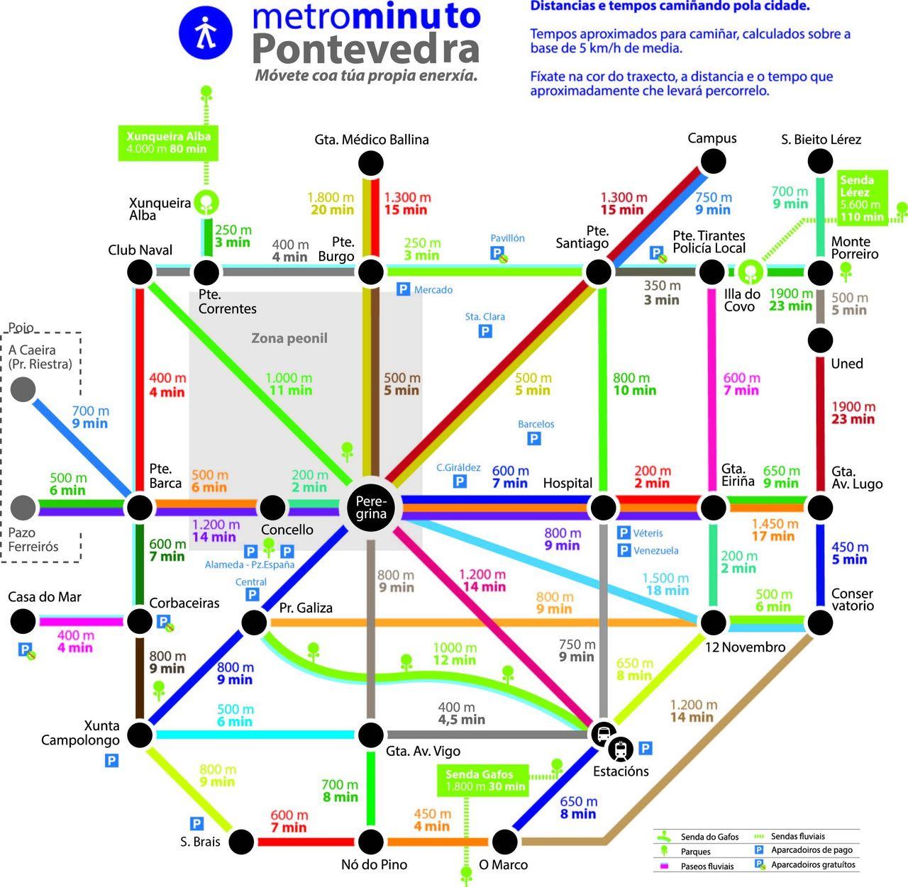 "Pontevedra's ""metro"" map shows the walking times between city locations."