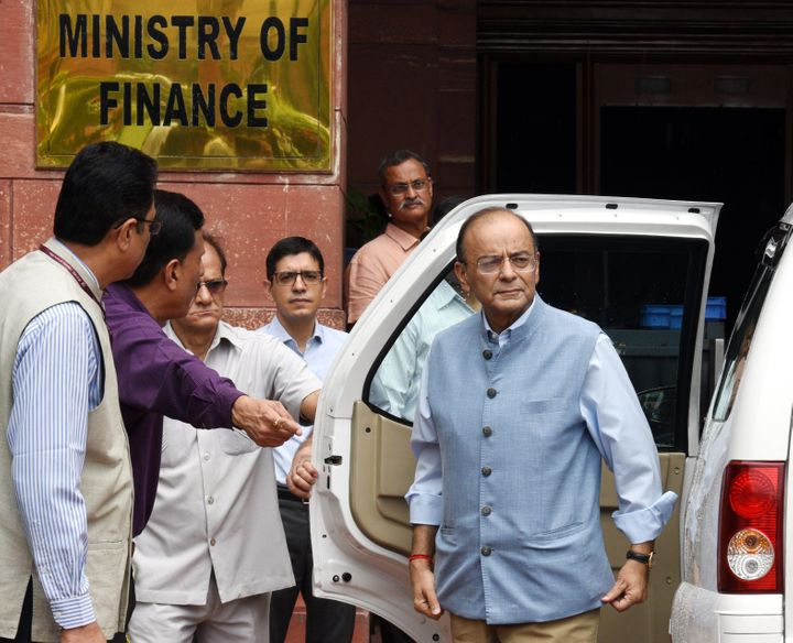 Then Union Finance Minister Arun Jaitley outside the Ministry of Finance on August 23, 2018 in New Delhi.