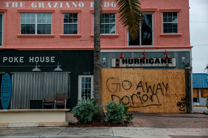 Businesses were forced to close in Florida ahead of Hurricane Dorian making its way towards the state after stalling over the Bahamas.