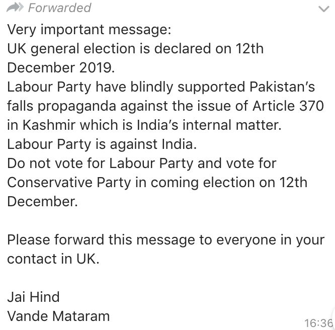 WhatsApp messages circulating among some British Indian