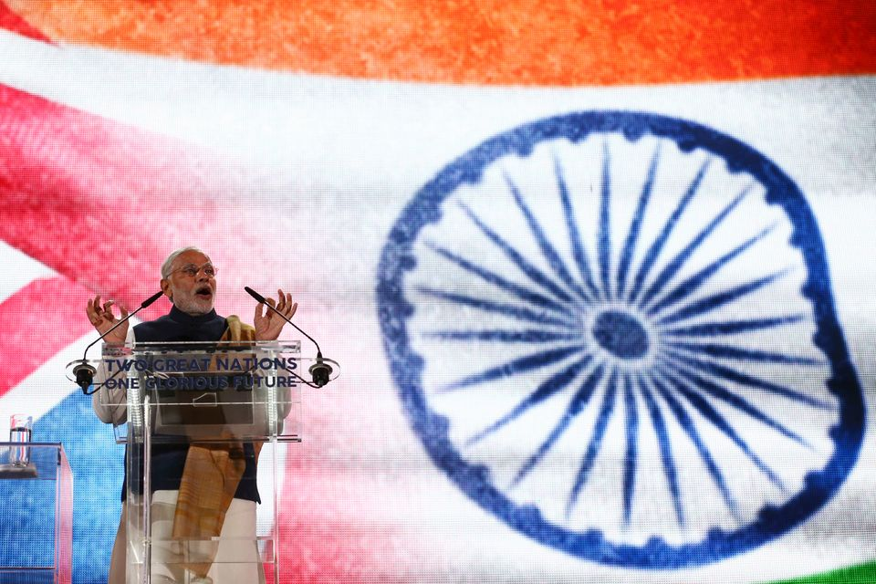 Around 60,000 people watched a Modi speak at a Wembley stadium rally alongside David Cameron in