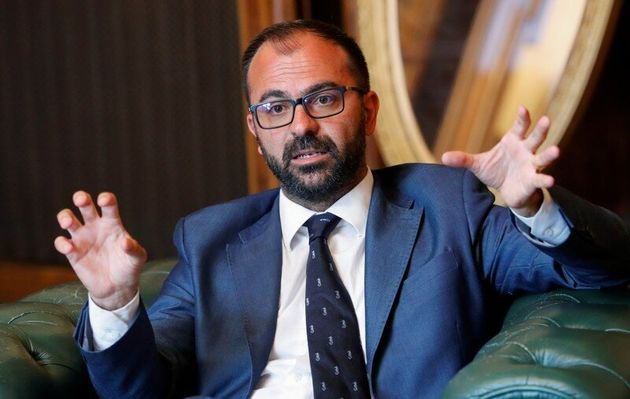 Italy's Education Minister Lorenzo Fioramonti gestures during an interview with Reuters in