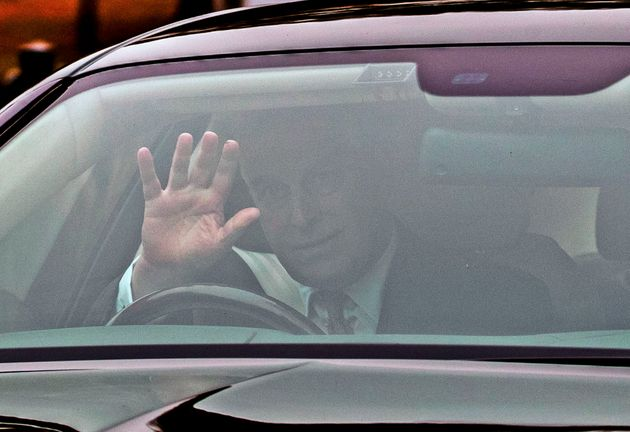 The Duke of York leaves his home in Windsor, Berkshire, the day after he suspended his work with his...
