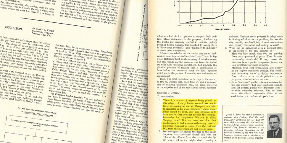 "A discussion piece in the same 1966 issue of the Mining Congress Journal said the coal industry was merely ""buying time"