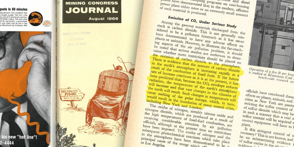 "A 1966 issue of the Mining Congress Journal suggested that rising levels of greenhouse gases could lead to ""vast changes in t"