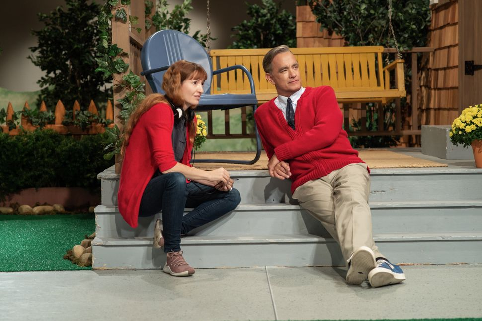 """Marielle Heller and Tom Hanks on the set of """"A Beautiful Day in the Neighborhood."""""""