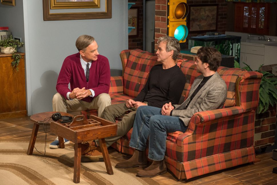 """Tom Hanks, Tom Junod and Matthew Rhys on the set of """"A Beautiful Day in the Neighborhood."""""""