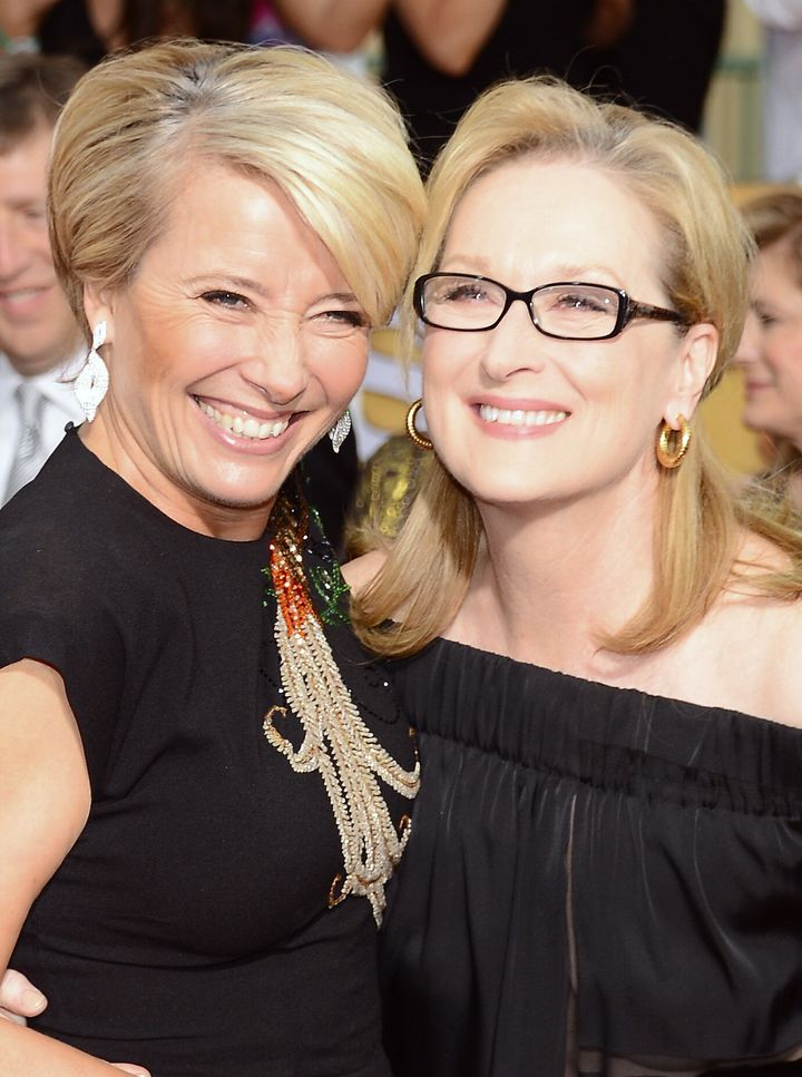 Emma Thompson and Meryl Streep attend the 20th Annual Screen Actors Guild Awards in 2014.