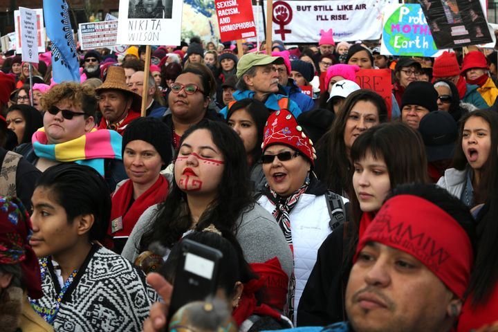 Thousands of Native Americans listen to speakers raising awareness of missing and murdered Indigenous women at a January 2019
