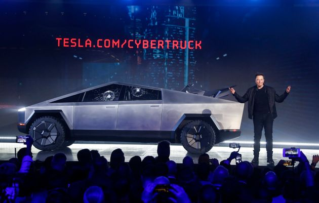 Tesla CEO Elon Musk introduces the Cybertruck at Tesla's design studio on Thursday, November 21,